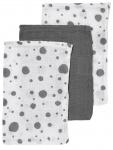 Meyco Hydrofiele Washandjes 3pack  Dots Grijs/Wit