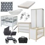 Combideal Complete Baby-Uitzet Kamer Air + Kinderwagen Q-Move + Reistas + Box Timo + Matras + Bad + Boxkleed + Muziekmobiel