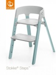Stokke® Steps™ Chair Seat Grey Legs Beech Wood Aqua Blue