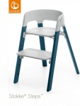 Stokke® Steps™ Chair Seat Grey Legs Beech Wood Midnight Blue
