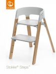 Stokke® Steps™ Chair Seat Grey Legs Oak Wood Natural