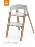 Stokke® Steps™ Chair Seat Grey Legs Oak Wood Natural