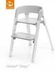 Stokke® Steps™ Chair Seat Grey Legs Oak Wood White