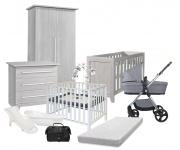 Combideal Complete Baby-Uitzet Kamer London + Kinderwagen Q-move + Box Fleur + Bad + Badzit + Muziekmobiel + Matras
