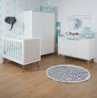 Childhome Ledikant 60-120/ Commode 3 Laden 1 Deur Inclusief Bladvergroter Retro Rio White