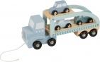 Little Dutch Houten Truck Blauw Inclusief Drie Auto's