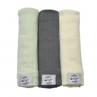 Lodger Swaddler 70x70 Leaf/Carbon/Ivory 3-pack