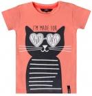 Beebielove T-Shirt Korte Mouw Cat Coral