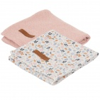Little Dutch Swaddle 2Stuks Pure Pink/Spring Flower  70x70